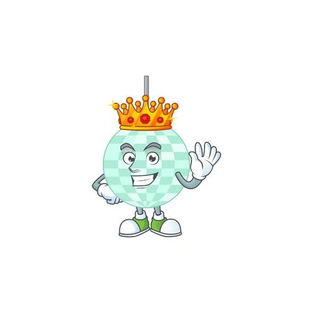 A charming King of disco ball cartoon character design with gold crown