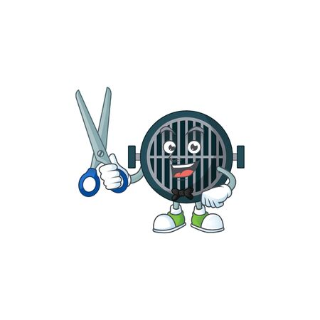 A picture of grill Barber cartoon character working with scissor
