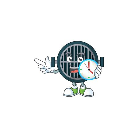 cartoon drawing concept of grill with a circle clock. Vector illustration