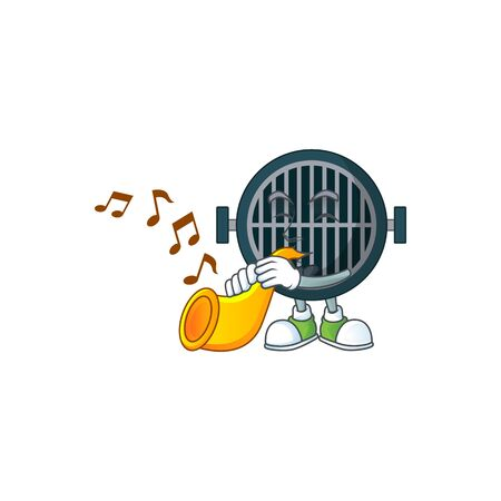 Talented musician of grill mascot design playing music with a trumpet. Vector illustration