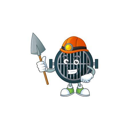 Grill as a miner cartoon character design. Vector illustration Çizim
