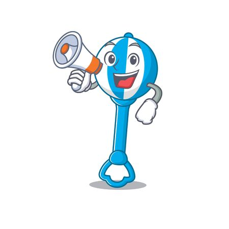Mascot design of rattle toy announcing new products on a megaphone Stok Fotoğraf - 148016667