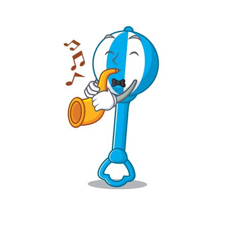 Rattle toy musician of cartoon design playing a trumpet Çizim