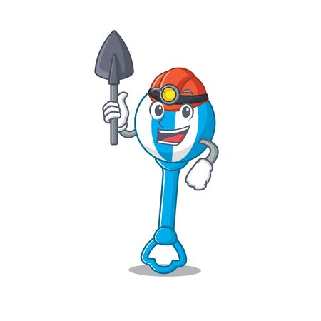 A cartoon picture of rattle toy miner with tool and helmet