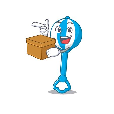 A cheerful rattle toy cartoon design concept having a box