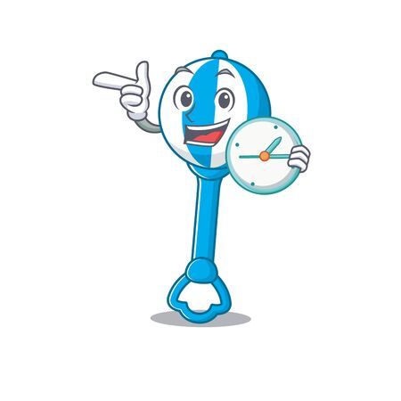 mascot design style of rattle toy standing with holding a clock