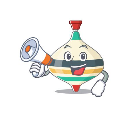 Mascot design of top toy announcing new products on a megaphone