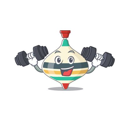 Top toy mascot design feels happy lift up barbells during exercise