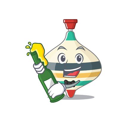 caricature design concept of top toy cheers with bottle of beer