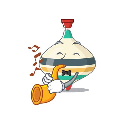 Top toy musician of cartoon design playing a trumpet