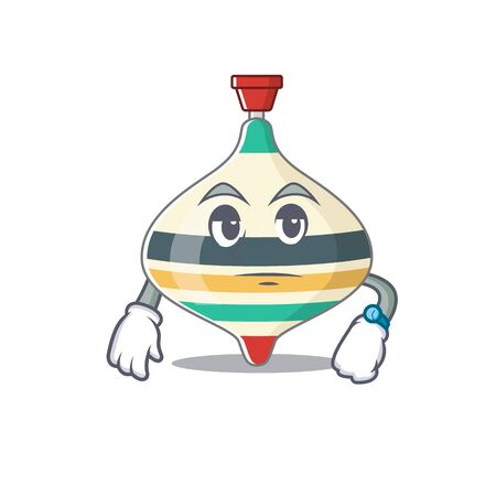 Mascot design style of top toy with waiting gesture Ilustrace
