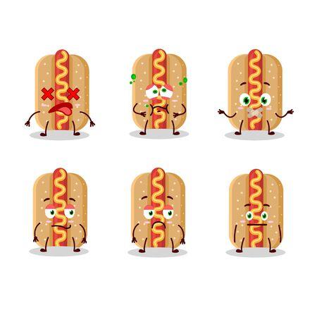 Hotdog cartoon in character with nope expression