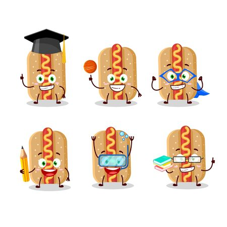 School student of hotdog cartoon character with various expressions