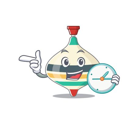 mascot design style of top toy standing with holding a clock Ilustrace