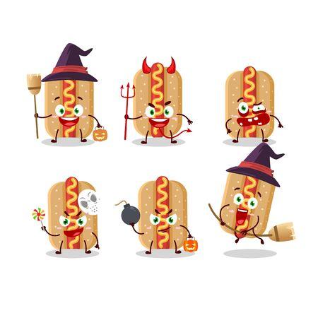 Halloween expression emoticons with cartoon character of hotdog Ilustração Vetorial