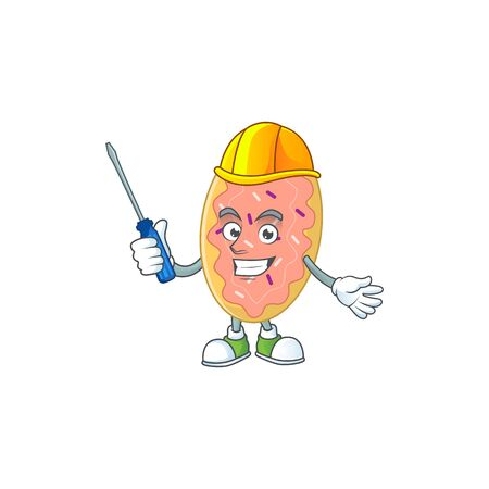 A cartoon image of bread in a automotive character. Vector illustration