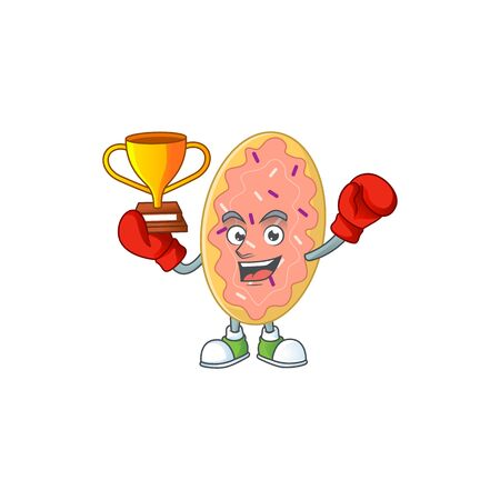 Proudly face of boxing winner bread cartoon character design. Vector illustration