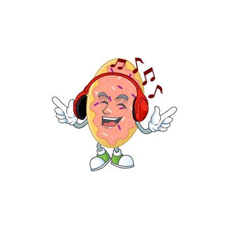 Cartoon drawing design of bread listening to the music with headset. Vector illustration Illusztráció