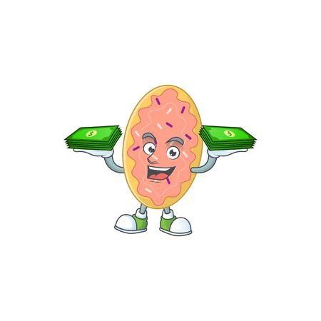 A cheerful bread cartoon mascot design having some money on hands. Vector illustration
