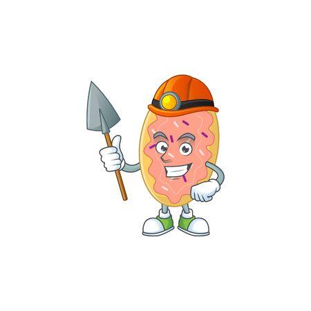 Bread as a miner cartoon character design. Vector illustration