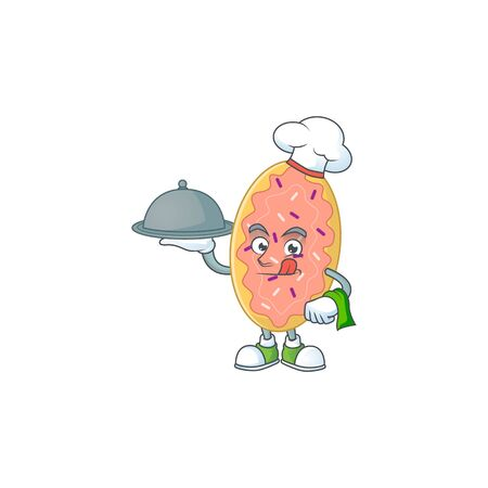 A bread chef cartoon mascot design with hat and tray. Vector illustration