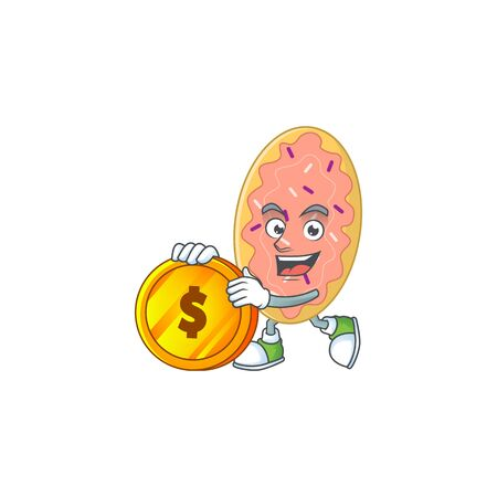 cartoon picture of bread rich character with a big gold coin. Vector illustration