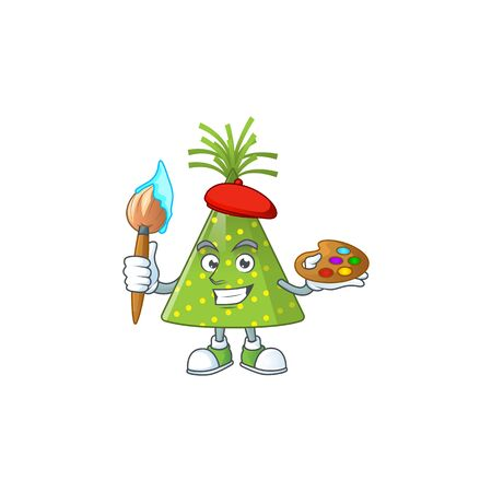 creative Artist of green party hat cartoon character painting using a brush. Vector illustration