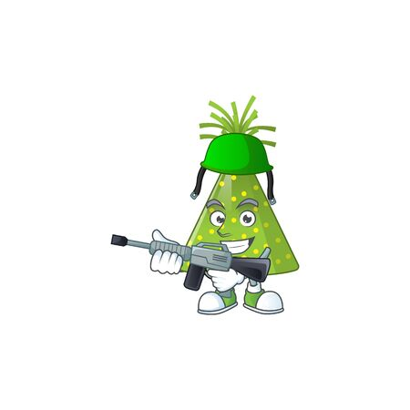 A mascot design picture of green party hat as a dedicated Army using automatic gun. Vector illustration