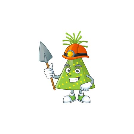 Green party hat as a miner cartoon character design. Vector illustration