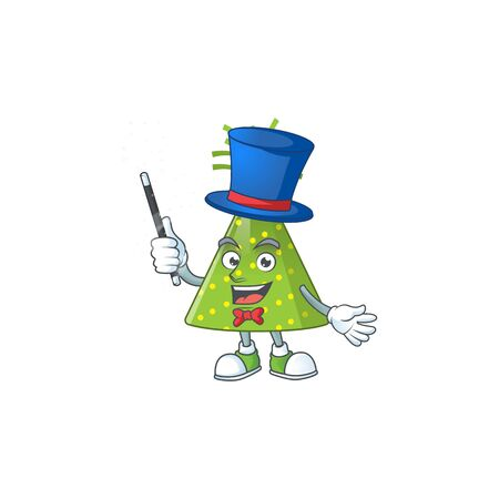 Talented green party hat Magician cartoon mascot design style. Vector illustration