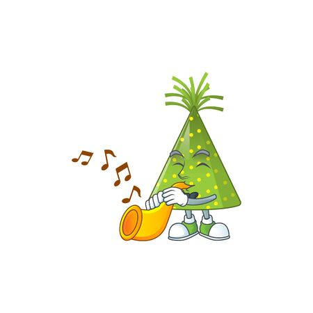 Talented musician of green party hat mascot design playing music with a trumpet. Vector illustration