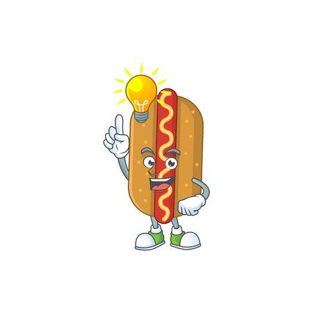 A brilliance hotdog cartoon design concept have an idea. Vector illustration Illusztráció