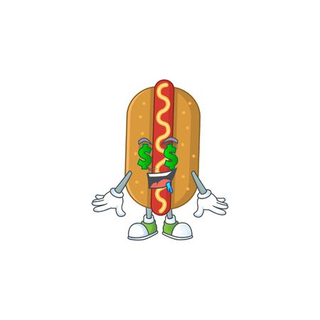 Cute rich hotdog mascot character style with money eyes. Vector illustration