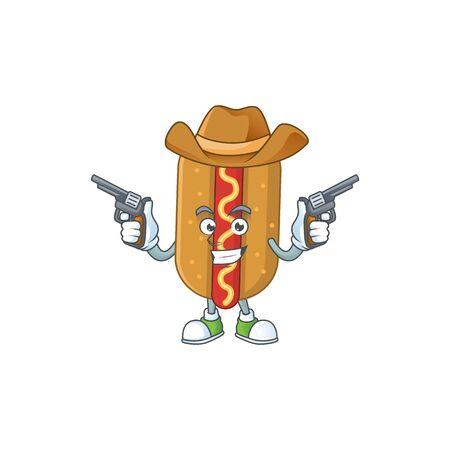 A masculine cowboy cartoon drawing of hotdog holding guns. Vector illustration