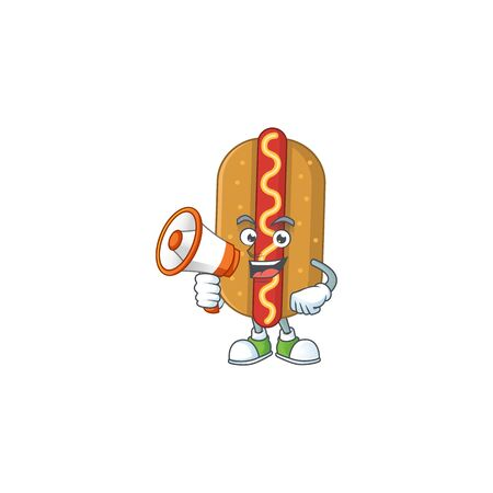 An image of hotdog cartoon design style with a megaphone. Vector illustration