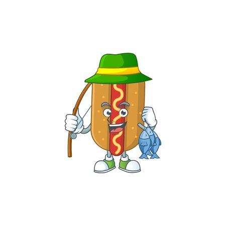 A Caricature picture of hotdog fisher succeed catch a fish. Vector illustration Illusztráció