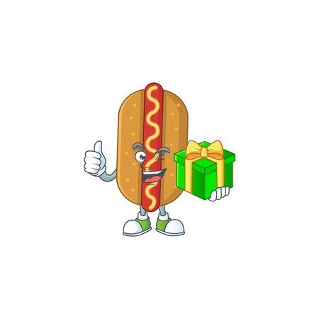 Happy smiley hotdog cartoon mascot design with a gift box. Vector illustration