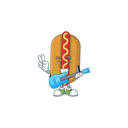 Hotdog cartoon character style plays music with a guitar. Vector illustration