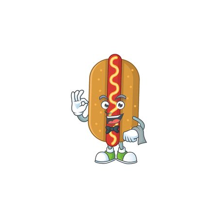 A cartoon image of hotdog as a waiter character ready to serve. Vector illustration Illusztráció