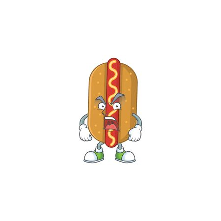 Hotdog cartoon drawing style with angry face. Vector illustration