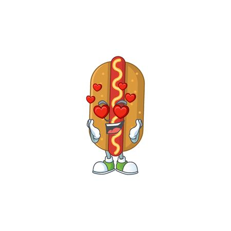 An adorable hotdog cartoon mascot style with a falling in love face. Vector illustration