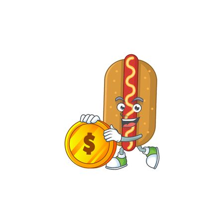 cartoon picture of hotdog rich character with a big gold coin