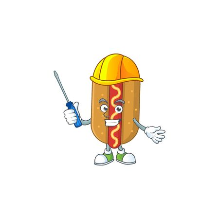 A cartoon image of hotdog in a automotive character. Vector illustration