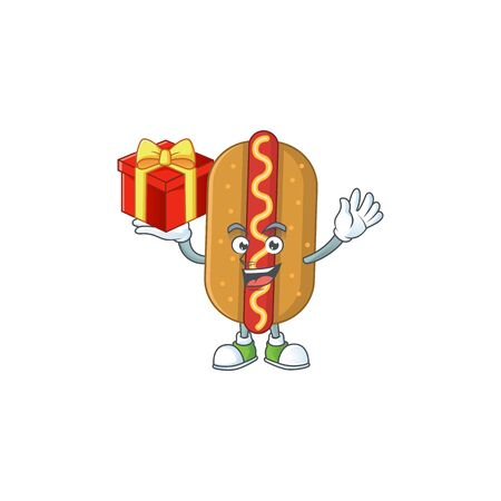 Hotdog cartoon mascot concept design with a red box of gift