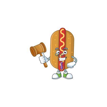 A wise Judge hotdog cartoon mascot design wearing glasses