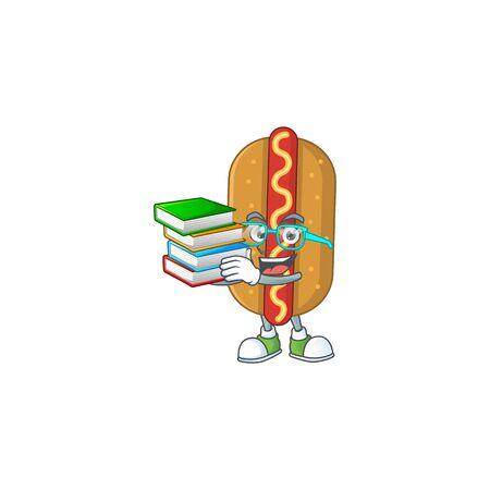 A mascot design of hotdog student having books Illusztráció