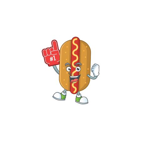 Hotdog Cartoon character design style with a red foam finger