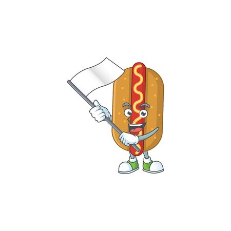 Cute caricature character of hotdog with a white flag