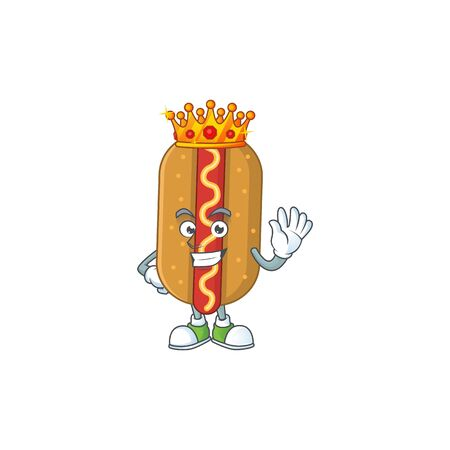 A charming King of hotdog cartoon character design with gold crown