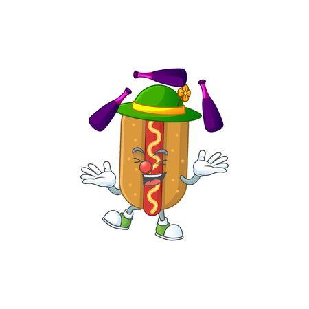 Hotdog mascot cartoon design playing Juggling on circus